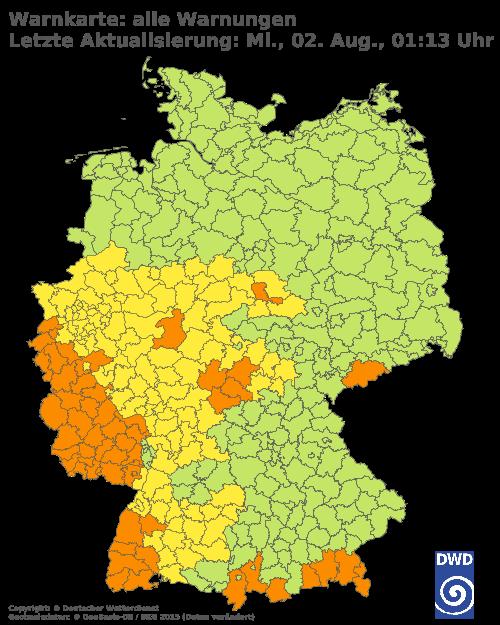 Aktuelle Wetterwarnungen für Friesland - Küste